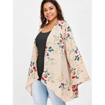 Plus Size Floral Pattern Tunic Coat - CHAMPAGNE 1X