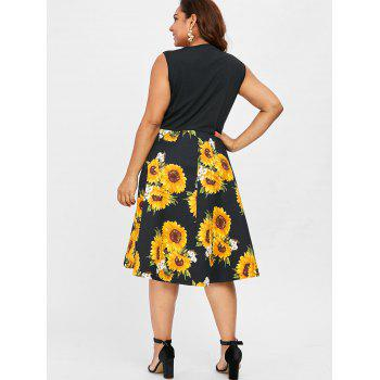 Round Neck Plus Size Sunflower Print A Line Dress - BLACK 4X