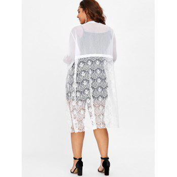 Plus Size Open Front Sheer Lace Coat - WHITE 3X