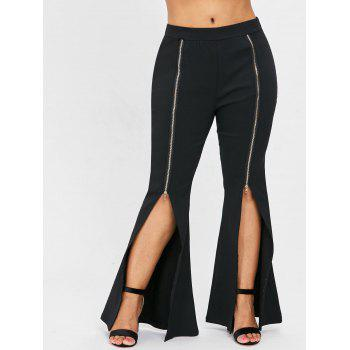Plus Size Slit Front Zipper Embellished Flare Pants - BLACK 1X