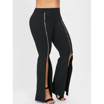 Plus Size Slit Front Zipper Embellished Flare Pants - BLACK 2X