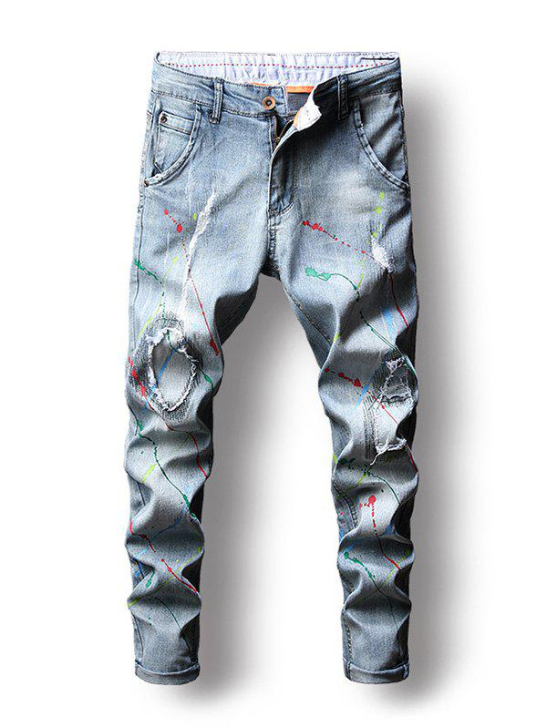 Zip Fly Colorful Paint Splatter Jeans - BABY BLUE 32