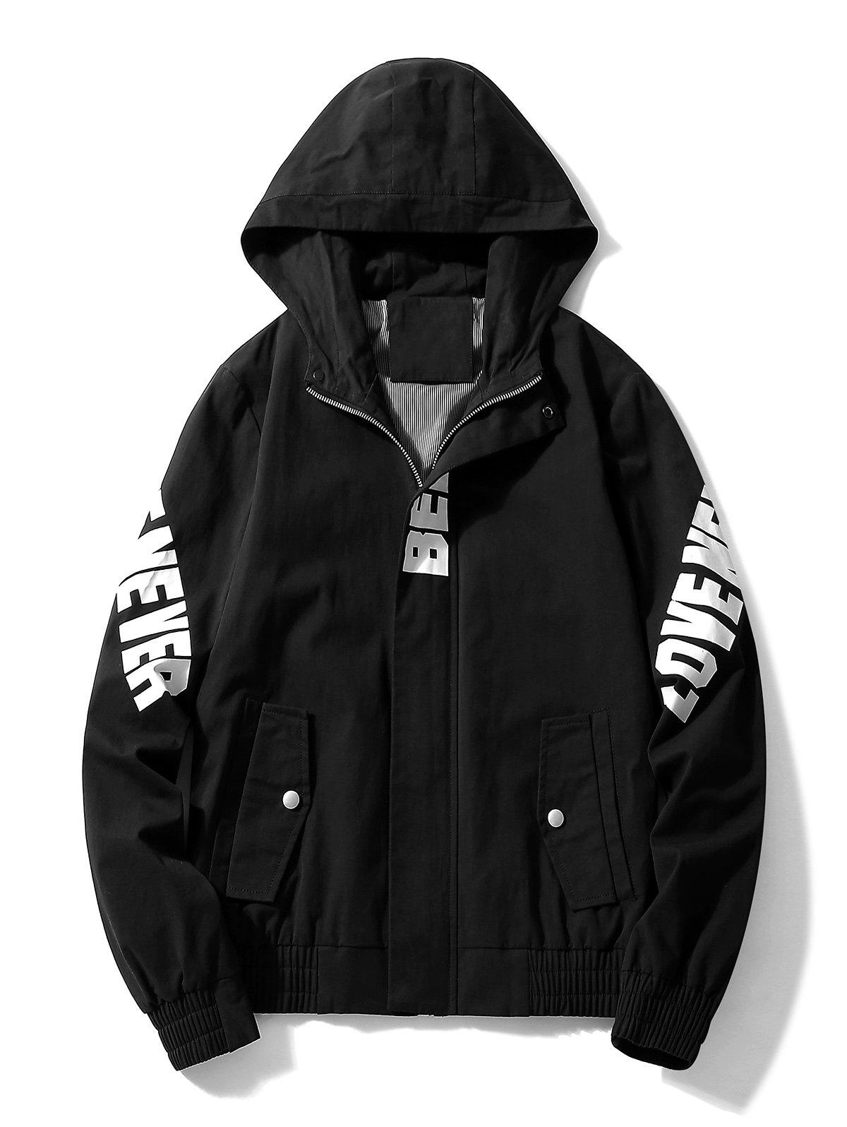 Casual Letter Zipper Up Side Pocket Hooded Jacket - BLACK M