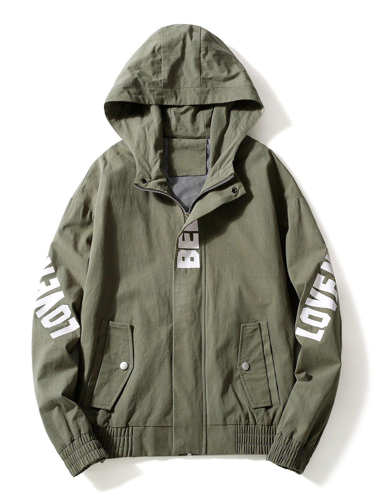 Casual Letter Zipper Up Side Pocket Hooded Jacket - ARMY GREEN M