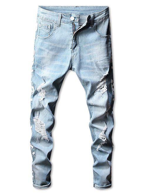Casual Side Graphic Taped Ripped Jeans - BABY BLUE 38