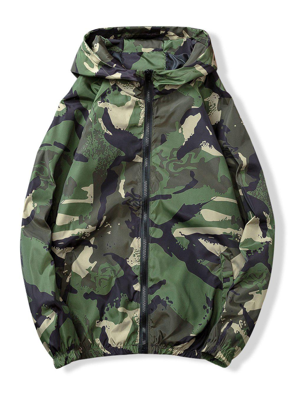 Camouflage Print Pockets Zip Waterproof Jacket - GREEN XL