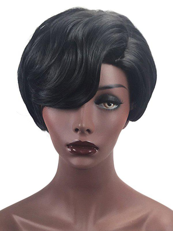 Short Side Parting Natural Straight Layer Capless Synthetic Wig - BLACK