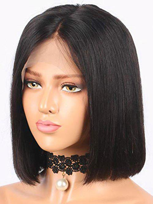 Short Center Parting Straight Bob Lace Front Real Human Hair Wig - BLACK 8INCH