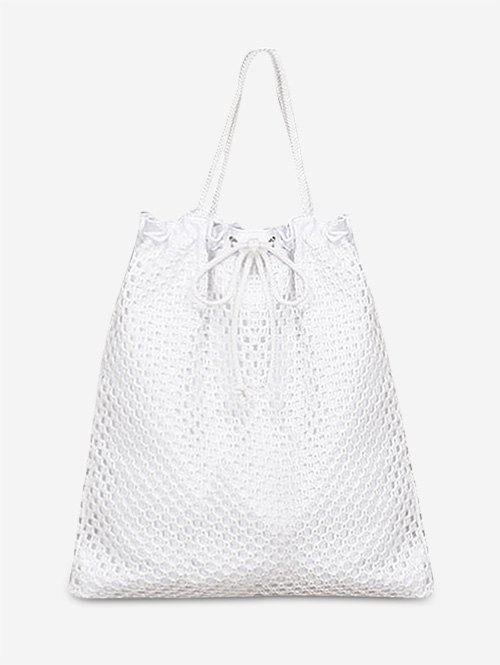 Leisure Vacation String Shoulder Bag - WHITE VERTICAL