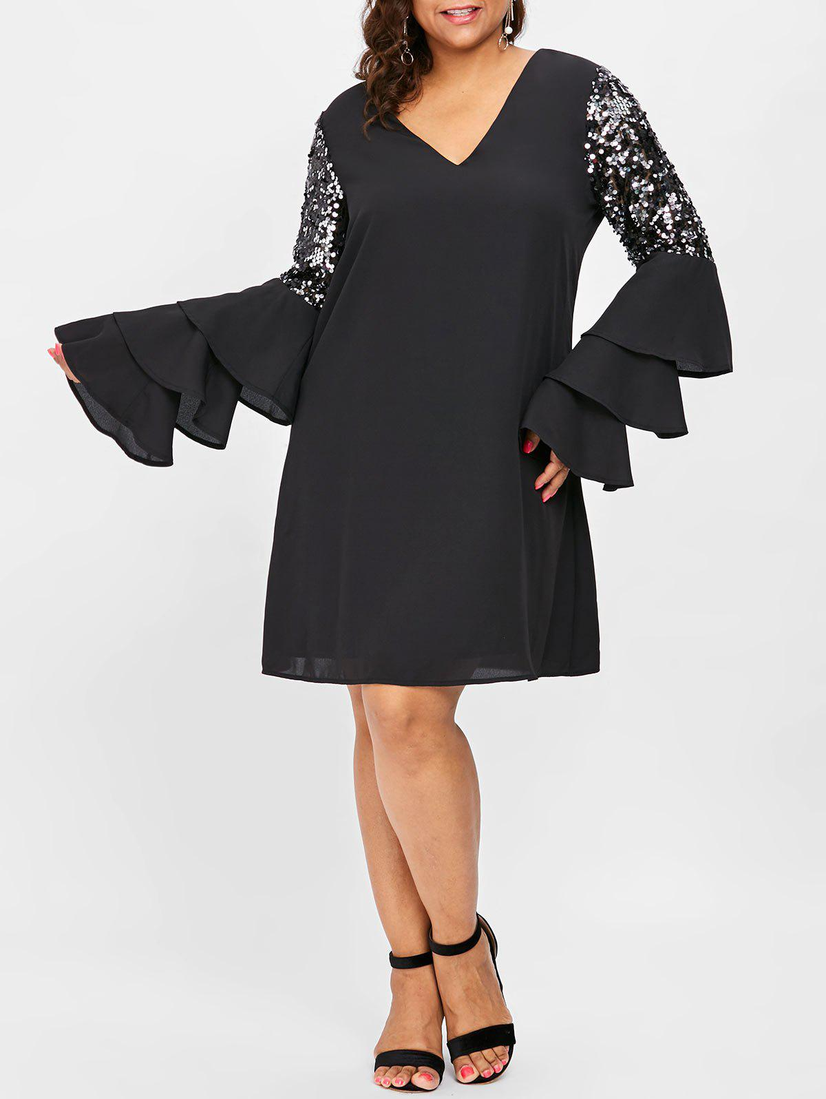 Plus Size Flare Sleeve V Neck Shift Dress - BLACK L