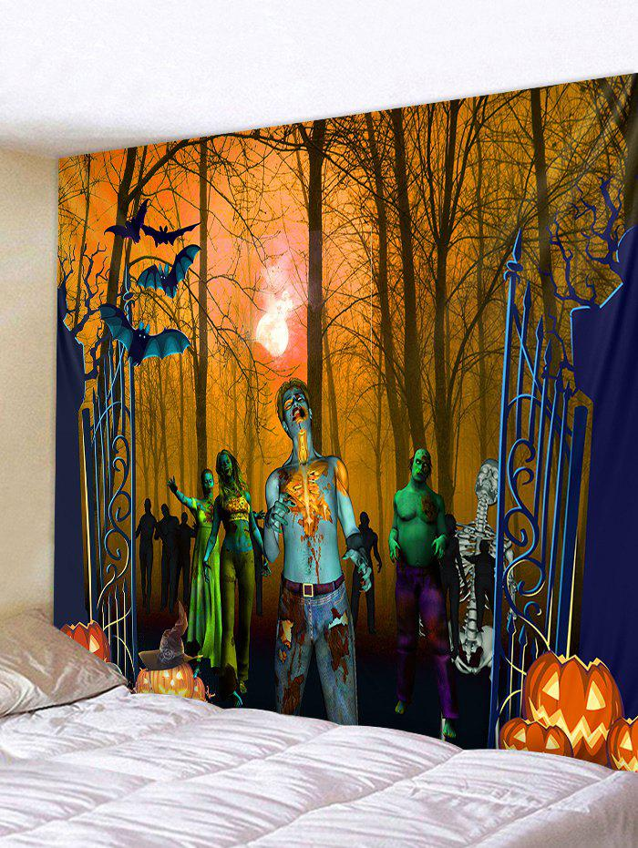 Halloween Forest Zombie Print Tapestry Wall Art - HALLOWEEN ORANGE W79 INCH * L59 INCH