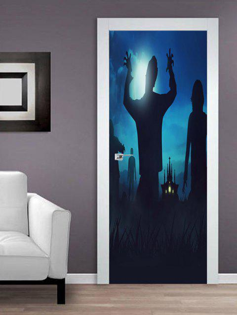 Halloween Zombie Pattern Door Stickers - BLACK 38.5*200CM*2PCS