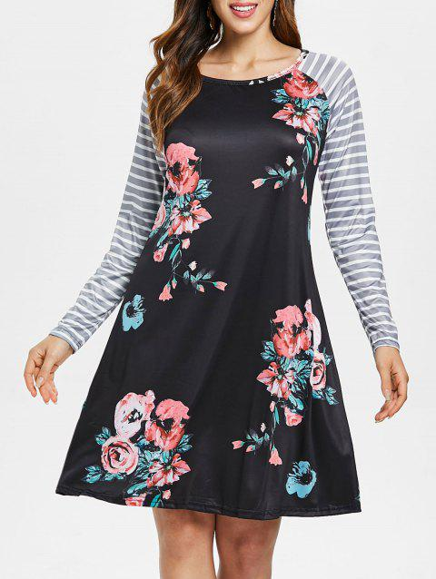 Print Striped Long Sleeve Dress - BLACK L