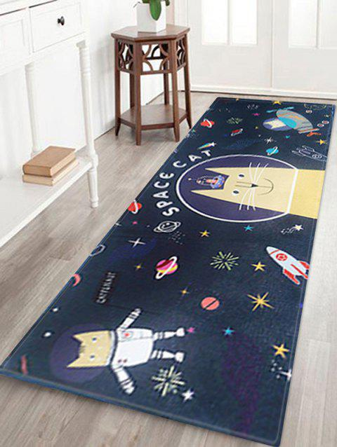 Space Cat Print Anti-skid Area Rug - MIDNIGHT BLUE W18 INCH * L47 INCH