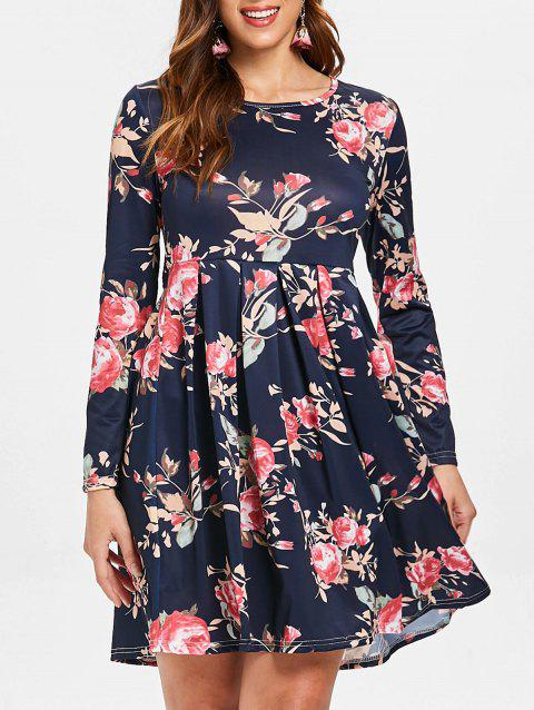 Pleated Detail Floral Pattern Dress - DEEP BLUE M