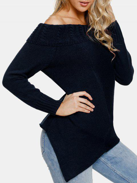 Cable Knit Off The Shoulder Sweater - MIDNIGHT BLUE S