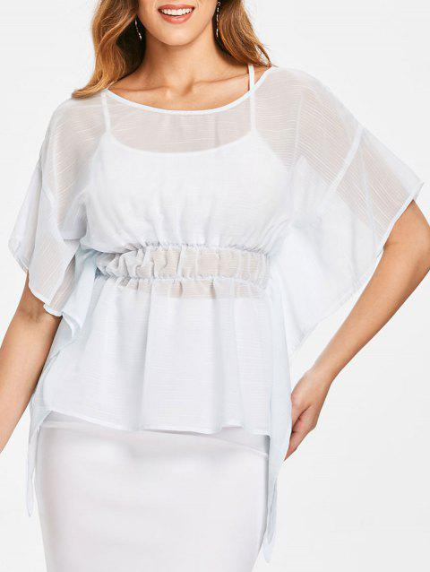 Dolman Sleeve Skirted Blouse with Tank Top - WATER M