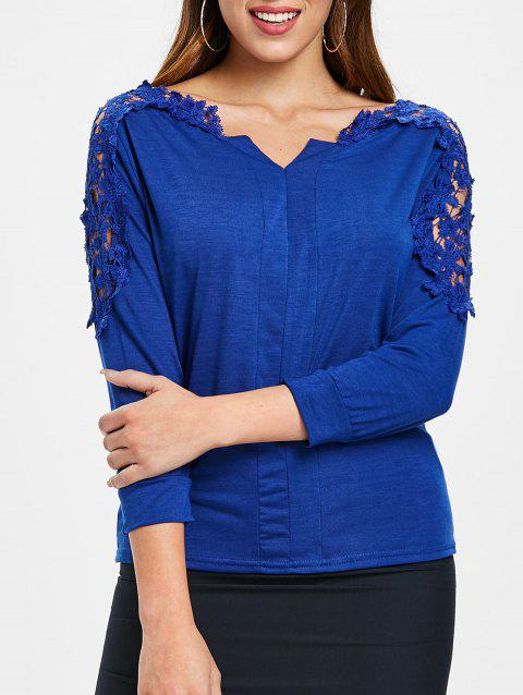 V Neck Lace Detail Top - ROYAL BLUE L
