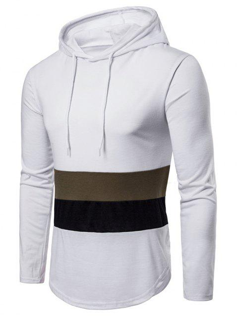 Drawstring Arc Hem Panel Hoodie - WHITE 2XL