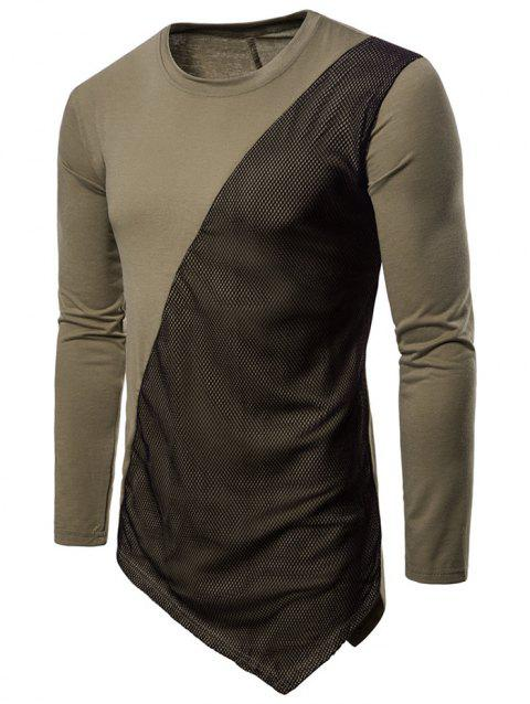 Asymmetric Mesh Panel Round Neck T-shirt - DARK KHAKI 2XL