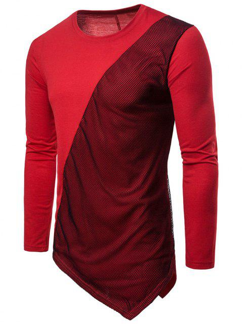 Asymmetric Mesh Panel Round Neck T-shirt - RED WINE 2XL