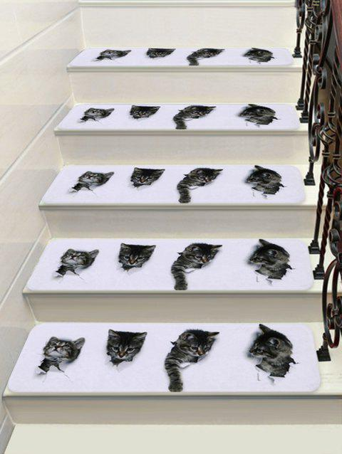 3D Cat Print Decorative Stair Floor Rugs - multicolor 5PCS:28*9 INCH