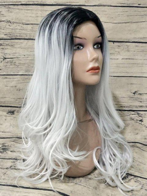 Middle Part Long Colormix Wavy Capless Synthetic Wig - multicolor