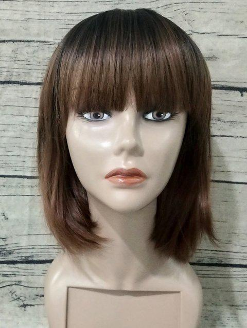 Short Synthetic Full Bang Gradient Straight Bob Wig - multicolor