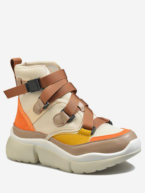 Color Block Fashion High Top Sneakers - BROWN 40