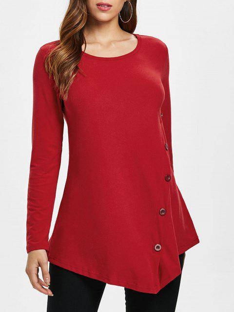 Button Embellished Asymmetrical T-shirt - LAVA RED M
