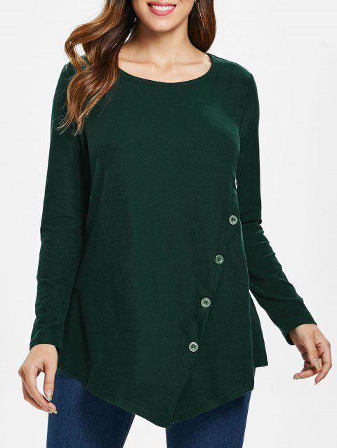 Button Embellished Asymmetrical T-shirt - ARMY GREEN M