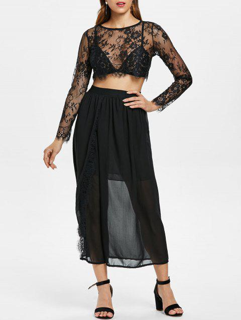 Lace Crop Top and High Waist Skirt - BLACK S