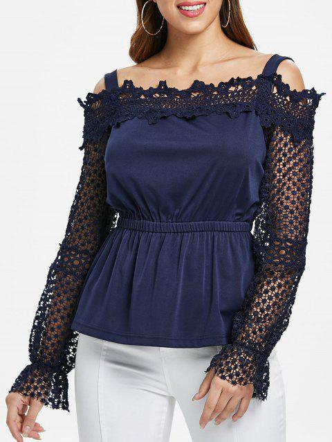 Fit and Flare Lace Detail Blouse - MIDNIGHT BLUE L