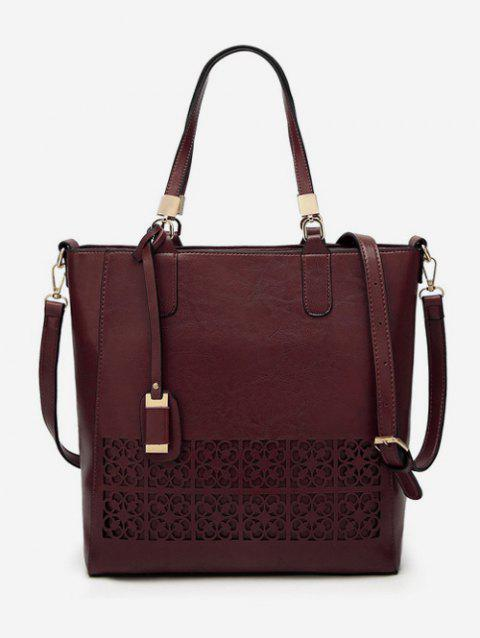 PU Leather Hollow Out Vintage Shoulder Bag - COFFEE VERTICAL