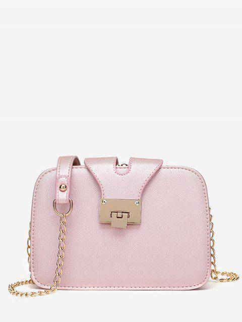Multi Interlayer Metallic Crossbody Bag - PINK HORIZONTAL