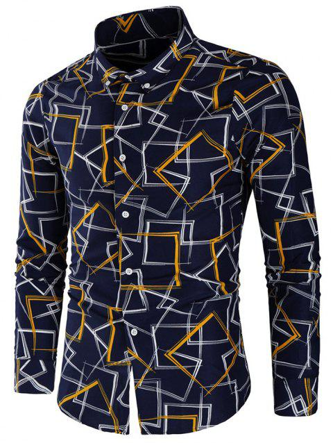 Allover Geometric Print Long Sleeve Shirt - YELLOW XL