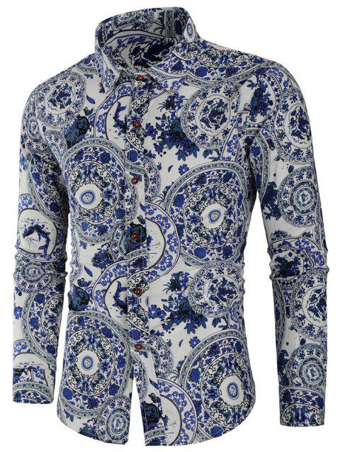 Porcelain Print Long Sleeve Shirt - multicolor M