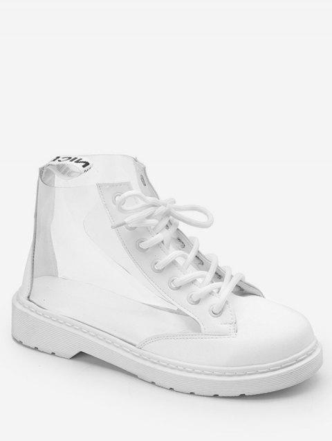 PU Leather Splicing Flat Heel Boots - WHITE 39