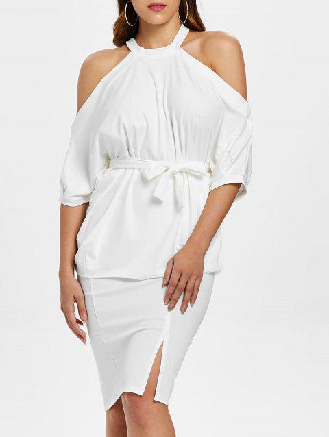 Open Shoulder Top and Bodycon Knee Length Skirt - WHITE XL