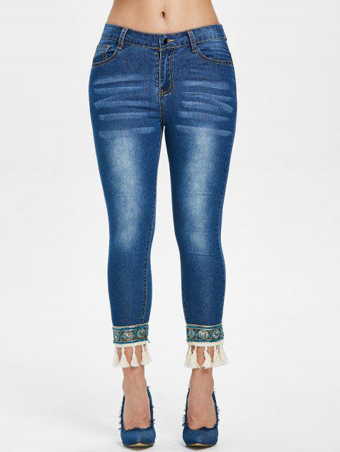 Skinny Tassel Panel Cropped Jeans - DENIM DARK BLUE S