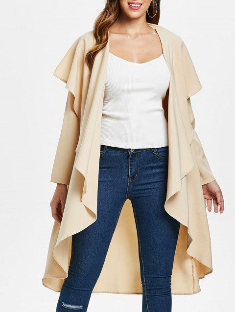 Ruffle-front Waterfall Coat - BEIGE M
