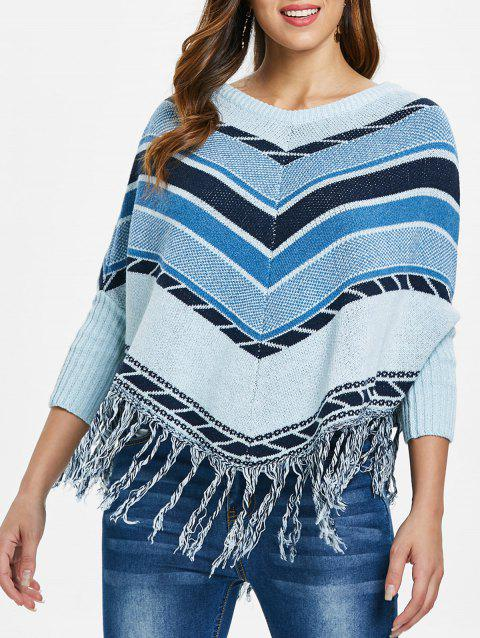 Fringed Cape Sweater - multicolor ONE SIZE