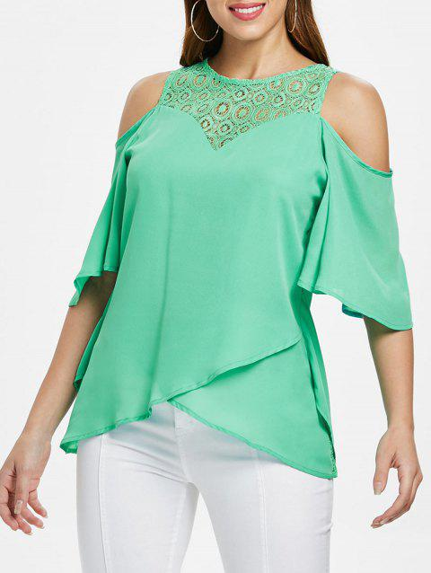 Lace Insert High Low Blouse - BLUE GREEN XL