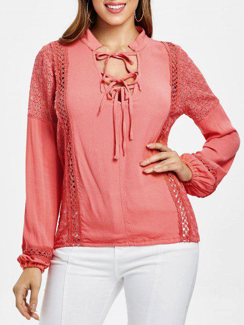 Lace Panel Top with Tie - WATERMELON PINK M