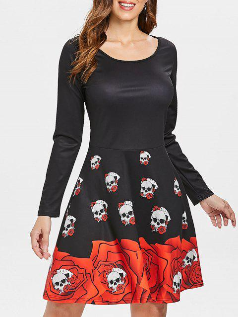 Halloween Skull Floral High Waist Dress - BLACK M