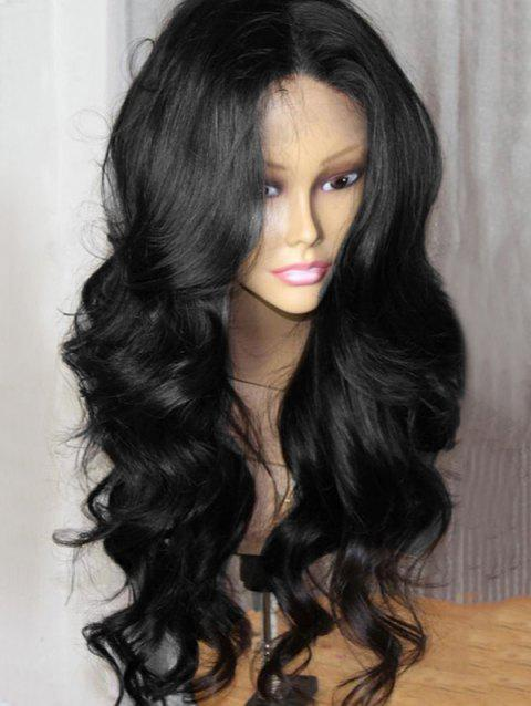 Heat Resistant Synthetic Middle Part Long Wavy Party Wig - BLACK