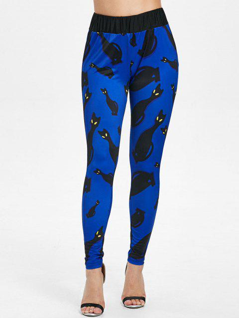 Black Cats Print High Rise Workout Pants - BLUE L
