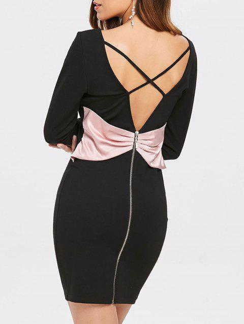 Criss Cross Backless Bodycon Dress - BLACK S