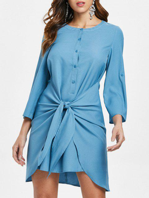Front Knot Mini Shirt Dress - BLUE IVY XL