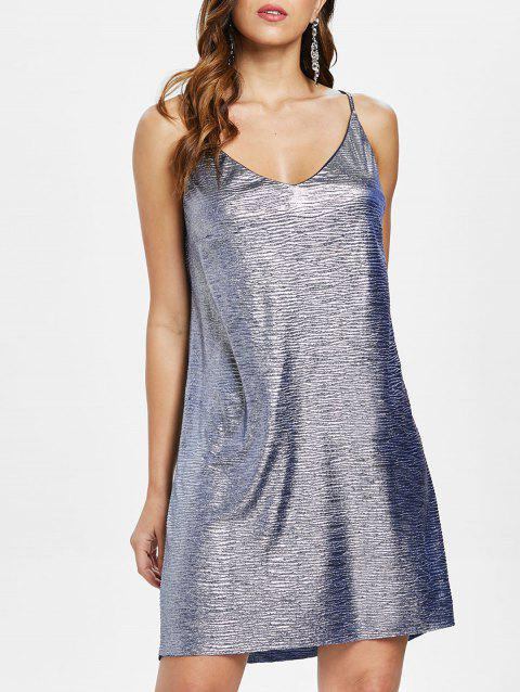 Spaghetti Strap Mini Dress - Bleu gris M